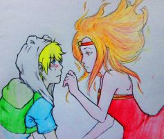 Flame Princess and Finn by k-sanagi