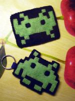 Commission: Space Invaders magnet and keychain by JoshikoseiSnak