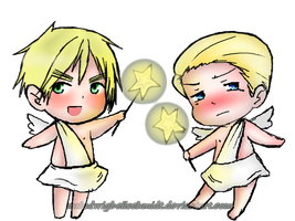 Chibi Angel England and Germany by MrLudwigBeilschmidt