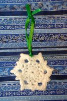 White Sparkle Crocheted Snowflake Ornament #3 by AlleyKat666