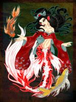 Butterfly Koi Mermaid by evollusive