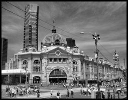Flinders Street Station by FullMetalMono