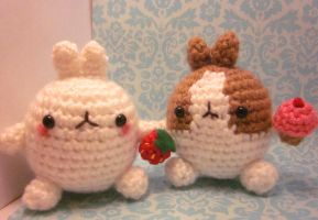 TWO Molang the Rabbit Bunny Amigurumi Crochet Doll by Spudsstitches