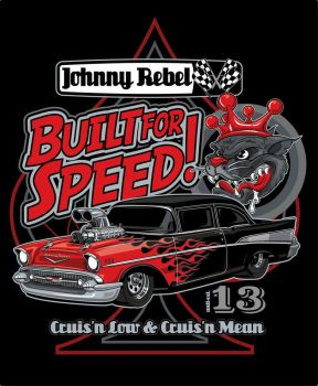 Johnny Rebel T-Shirt Design Built For Speed by russellink