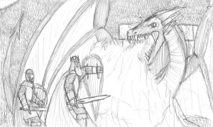 Beowulf and Wiglaf fighting the Dragon by DWestmoore