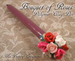 Bouquet of Roses Polymer Clay Pen by Brisbykins