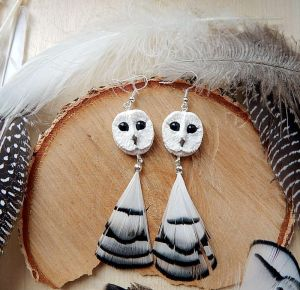 White barn owl earrings by koshka741
