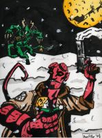 Hellboy vs der Krampus by ryanryanryanoh