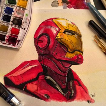 Iron Man Watercolor by APetrie74