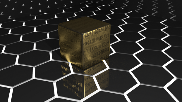 Metal Cube on Black Plastic by ignorance007