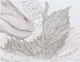 Alduin vs Smaug by TheSpiderAdventurer