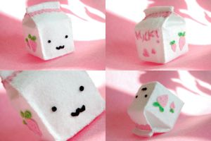strawberry milk - plushie by paperplane-products