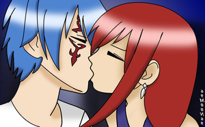 Erza and Jellal KISS by 69M00N69