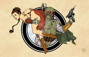Boba Fett and Leia - Rocketeer Homage by DaveAcostaArt