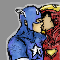 cap+ironman by battlescar
