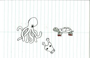 Doodled Octopus and Turtle by SickSean