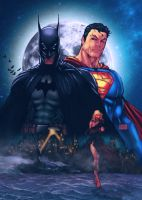 Batman and Superman recolored by commanderlewis