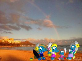 The Wahine Smurfs in Waikiki by NewportMuse