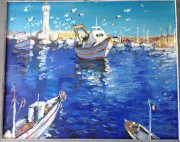 Boats in the harbor by ClairObscur16