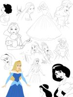 Disney Princess sketches by Precia-T