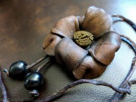 Brown Leather Rose Necklace by Sopisa-jewelry