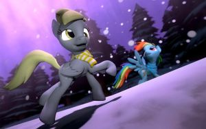 Derpy and Rainbow dash in Snow by pinrobotkit