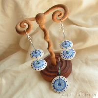 Jewelry set 64 blue and white by AmberSculpture