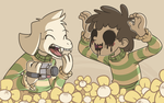 Chara and Asriel by y0rshee