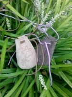 Paw Prints Leather Medicine Pouch Necklace by RamsEyeSupply