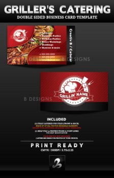 Griller's Catering Business Card Template by AnotherBcreation