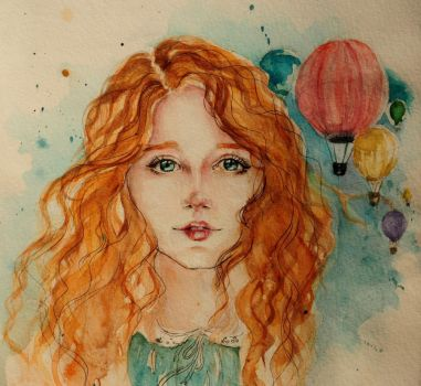 balloons and cute red hair *_* by bilberry-art