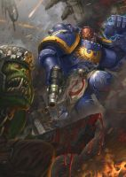 Space Marine v. Ork 3 by jubjubjedi