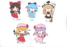 Touhou project:first chibi set by creamy-choco