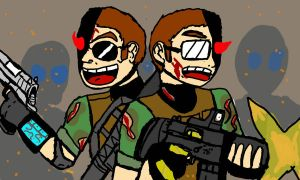 ARMY OF 2 ZOMBIE KILLERS by vaultboy28