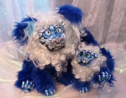 Blue and White Shishi Mother and Cub Posable s by Eviecats