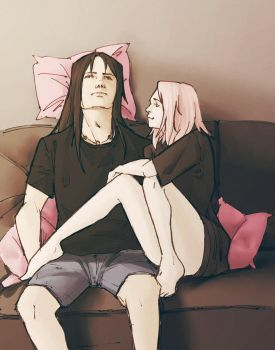 ItaSaku: Pink Pillows by elanorchuah