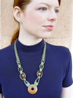 Copper Green Macrame Necklace by johannachambers