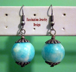 Peacock Blue - White Agate Earrings by BloodRed-Orchid