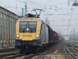 470 003 with a freight train in Gyor station -2011 by morpheus880223