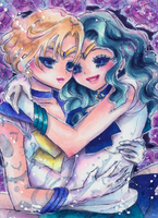 Sailor Uranus and Sailor Neptun by OoOoPitchBlackOoOo