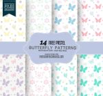 14 Butterfly Patterns in Pastel Colors by fiftyfivepixels
