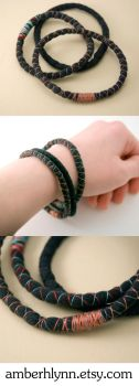 3 upcycled black bracelets by amberhlynn
