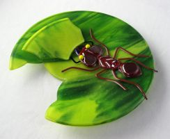 Leafcutter Ant Plate by trilobiteglassworks