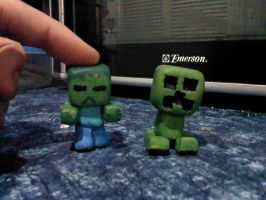 chibi minecraft zombie and creeper by JOLTTHEHEDGEHPG09