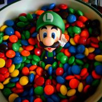 Luigi in a bowl of candy by DrGengar