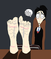 Victor's feet is shy by TheBurtontickler13