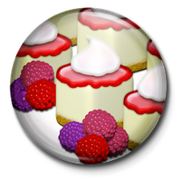 Raspberry Cheesecake Button by EvilCatArts