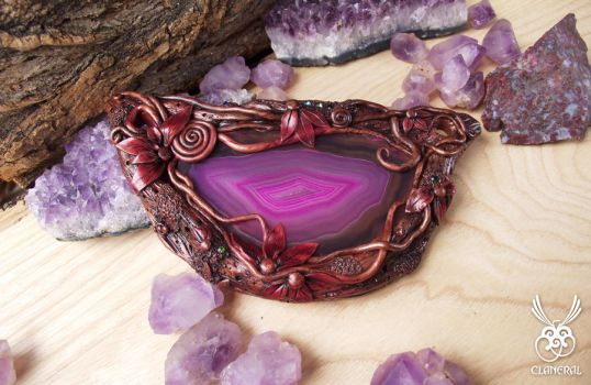 Agate Slice Handcrafted Polymer Clay Necklace by ClaneralJewelry