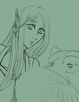 Girl and Bear Linework by Lorien077