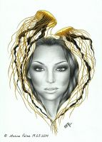 Drawing/painting - Golden jellyfish, Claudia Lynx by MarinaPalme